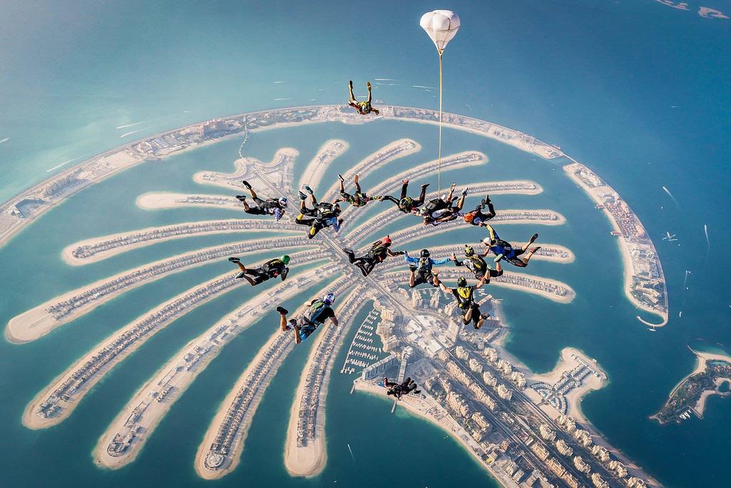 SkyDive Dubai - Static Line jump at Palm Jumeirah Dubai, UAE